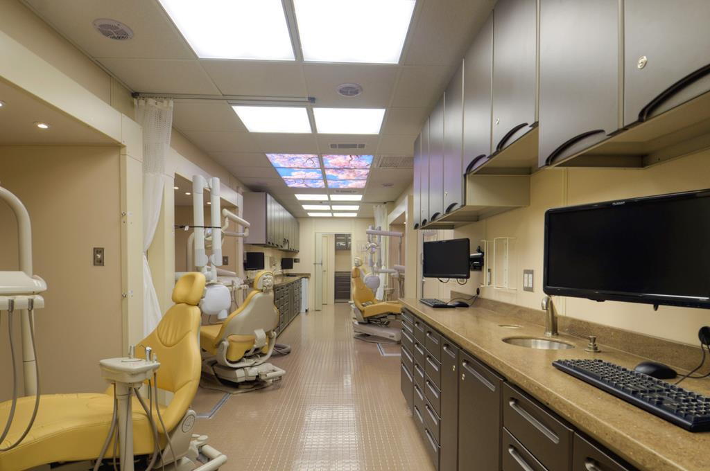 Mobile dental unit interior